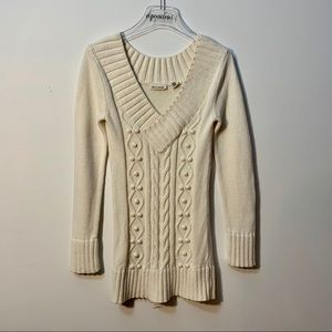 DKNY Cream Cotton VNeck Sweater Size Small